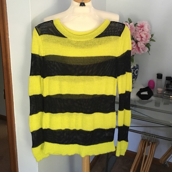 GAP Sweaters - Neon yellow and black striped Gap sweater