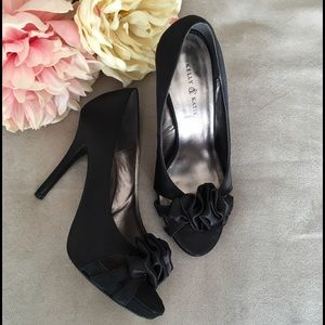 Kelly & Katie Shoes - Black Satin Open Toe High Heels