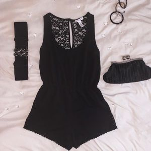 Ambiance Apparel Dresses & Skirts - Lace Backed Black Romper