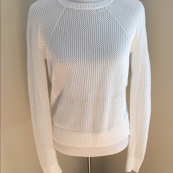 55% off Athleta Sweaters - Athleta white mesh pullover sweater ...