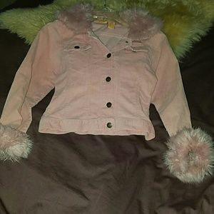 traffic  Other - Jacket: Cord faux fur collar: Pink: sz 10/12 girls