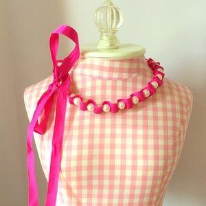 Jewelry - Fuchsia Satin Ribbon & Pearl Necklace