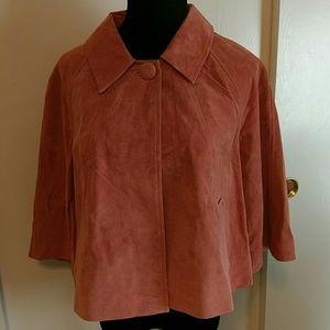 Leather/suede crop jacket, burnt orange