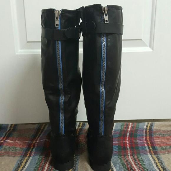 Knee High Blue Zipper Riding Boots