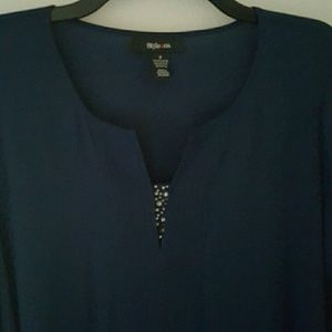 Style & Co Tops - Sheer Hi Lo Navy Flowy Blouse w/ Crystals