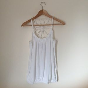 Express Tops - Express White Crochet Tank Top