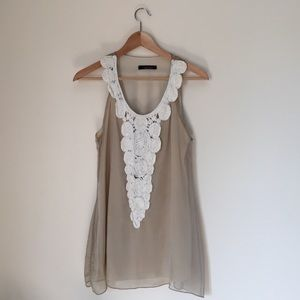 B'leev Tops - Nude Chiffon and Lace Formal Tunic Top