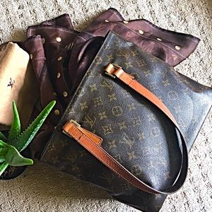 % Authentic LOUIS VUITTON Monogram Cabas Piano