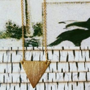 • Gold Triangle Pendant Necklace •