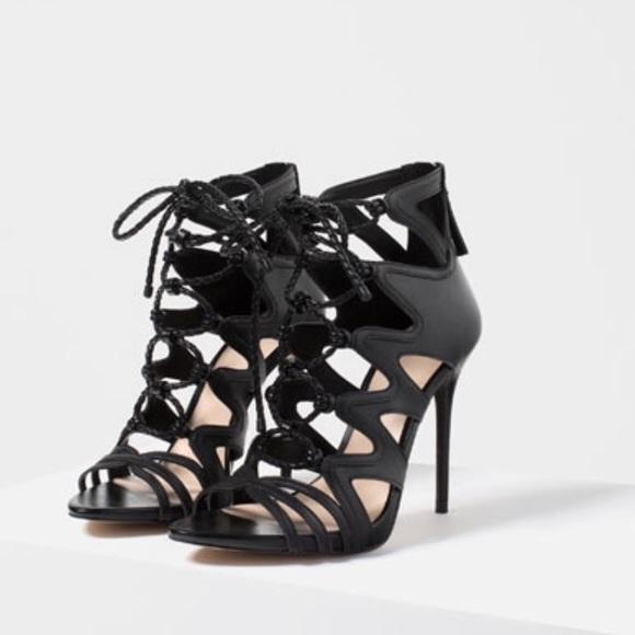 1692146e8649 Zara gladiator Roman lace up leather sandal nwt