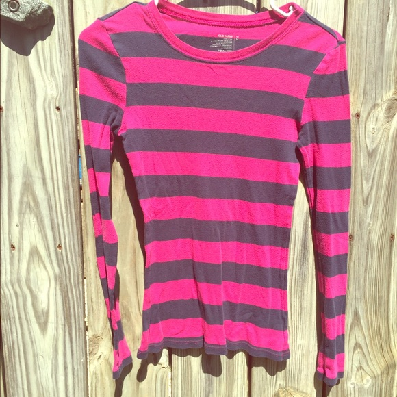 50% off Old Navy Tops - Black and pink striped long sleeve shirt ...