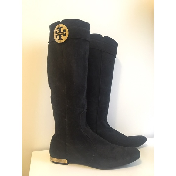9cbbad24196143 Tory Burch black Uma suede boots with gold heels. M 57cdd521fbf6f9be3b01020e