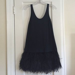 Theory drop waist ostrich feather navy dress