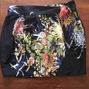 Asian print wrap skirt.