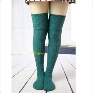 HUE Accessories - Cable Knit Over The Knee Socks Thigh High 4 Colors