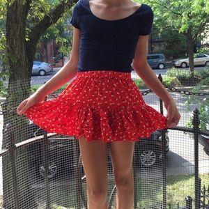 red floral print forever 21 miniskirt