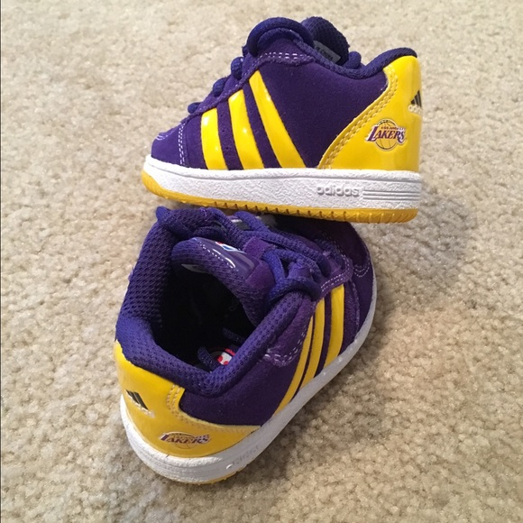 finest selection 88c39 db7be Limited Edition Adidas LA Lakers Toddler Sneakers NWT