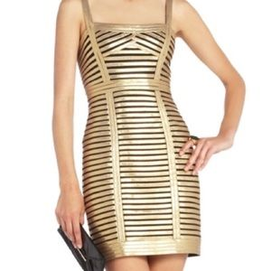 BCBGMaxAzria Dresses & Skirts - Metallic Gold w/black BCBG cocktail dress P4