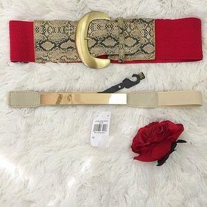 NWT 2 BOUTIQUE Dress / Blouse Elastic Belts Sz M/L