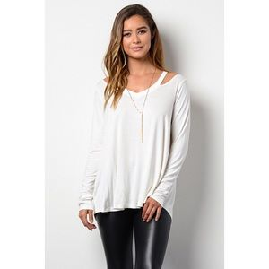 likeNarly Tops - •FINAL PRICE• Just For You Cold Shoulder - White