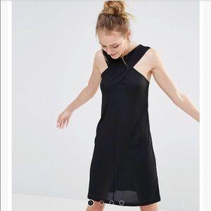 Monki cross front neckline black dress