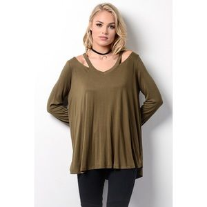 likeNarly Tops - •BUY2/1FREE• Just For You Cold Shoulder Olive Top