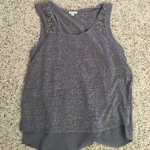 Eyeshadow Tops - Gray Tank with Embroidery