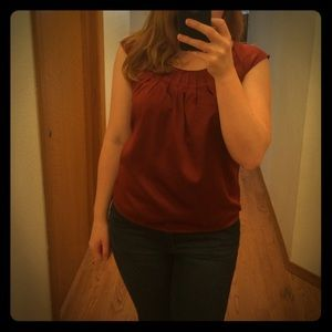 XS Silk Maroon Cap Sleeve Top - The Limited