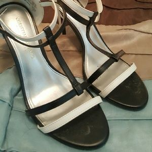 Christian Siriano Shoes - Black & white strappy sandals