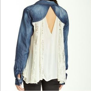⚡️SALE⚡️Free People Jean and Floral Lace Top✨
