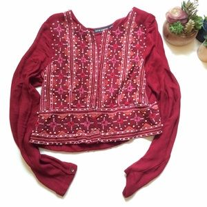 Antik Batik Jackets & Blazers - Antik Batik Beaded Light Jacket, Red