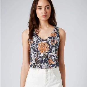 Top Shop paisley scalloped crop top