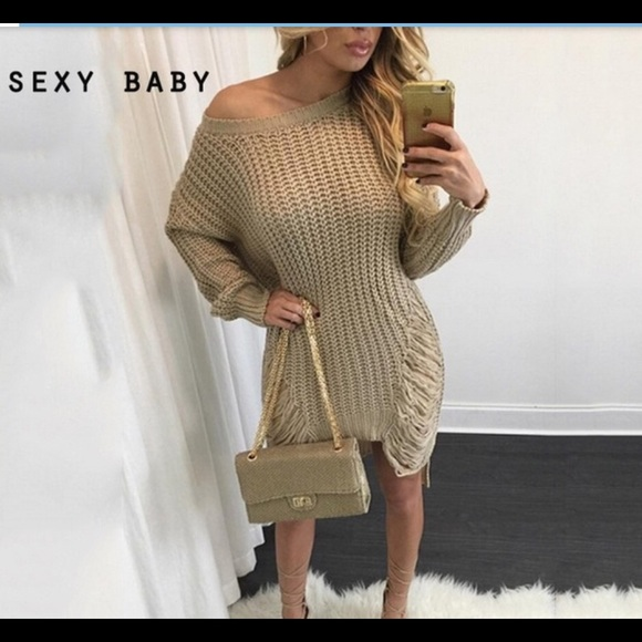 61% off Dresses & Skirts - Ripped sweater dress TAN from Amber's ...