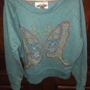 Signorelli Other - Teal beaded butterfly sweater