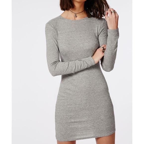 a396cb09e051 Tight Grey Ribbed Long Sleeve Mini Dress. M 57cfa1d1713fdeae6a0171c9