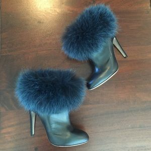 Sergio Rossi Shoes - SERGIO ROSSI leather and fur booties