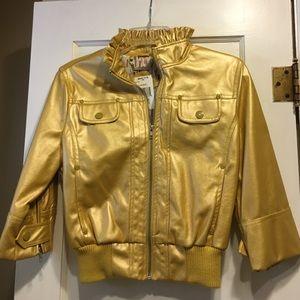New Shiny Yellow Zip-up Cropped Bomber Jacket