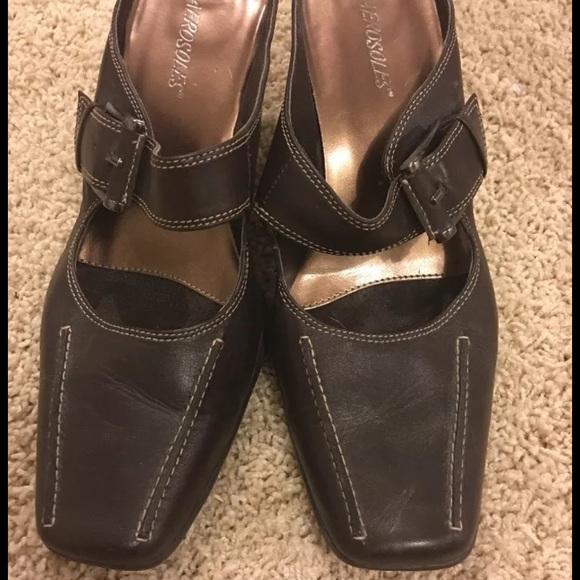 cee6f6063ea AEROSOLES Shoes - Aerosoles Mary Jane Style Mule Brown Leather Sz 9