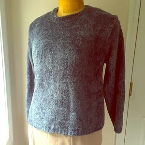 Crew neck chenille sweater with lurex sparkle