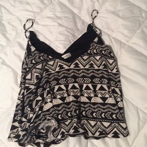 Tops - Black and white tribal pattern crop top.