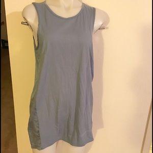 Joseph Tops - JOSEPH Dusty Blue Silk Satin Knit Tunic Top Sz XL