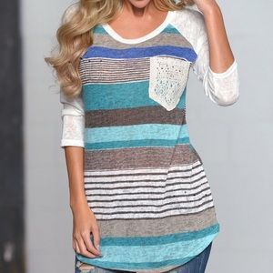 Anthropologie blue striped top thin light