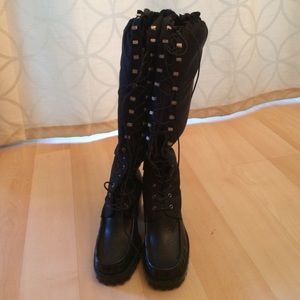 New Black leather high heel lace up combat boots