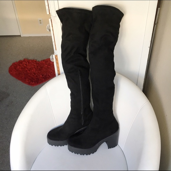59f7f771395 Faux suede thigh high chunky platform boots. M 57ce1b592599fe2c770030f6.  Other Shoes ...