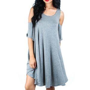 Dresses & Skirts - Gray cold shoulder knee length drape dress