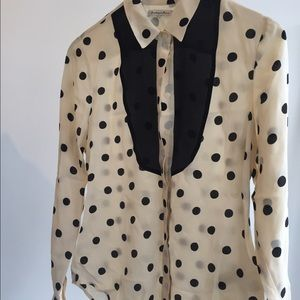 madewell silk polka dot shirt