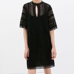 Zara Crochet black dress