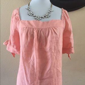Allison Taylor Tops - Allison Taylor coral/pink linen top