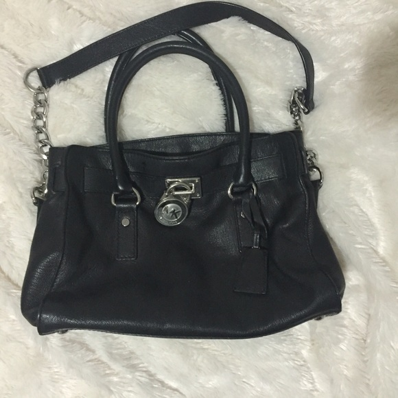 michael kors handbags authentic used michael kors hamilton black purse with silver