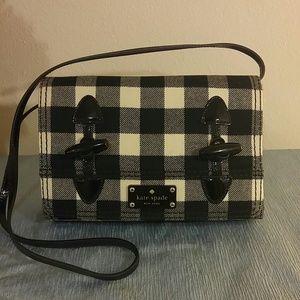 New Plaid black/white wool Kate Spade crossbody